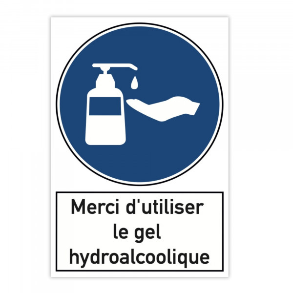 Plaque d'avertissement en aluminium (x2) - Merci d'utiliser le gel hydroalcoo...