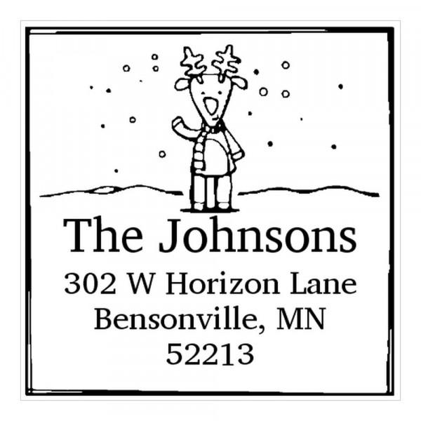 Tampon monogramme carré - Cerf en hiver