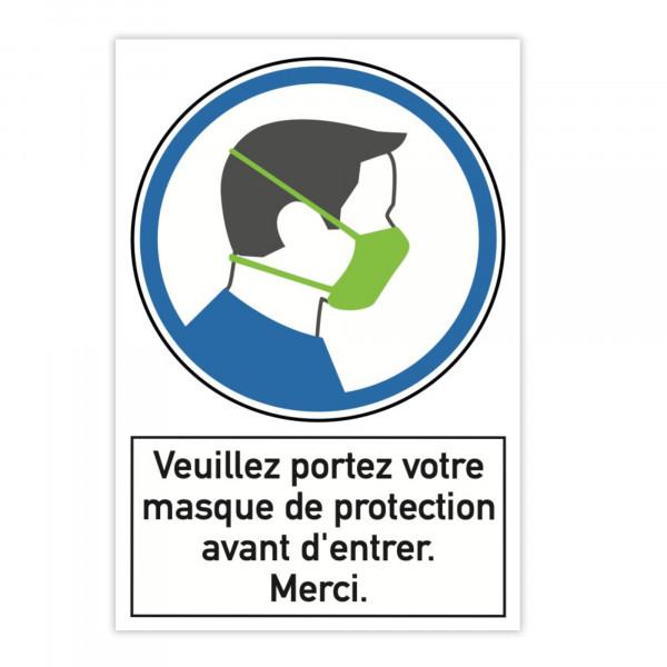 Plaque d'instruction de sécurité en aluminium (x2) - Veuillez portez votre ma...