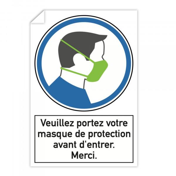 Autocollant d'instruction de sécurité (x3) - Veuillez portez votre masque de ...