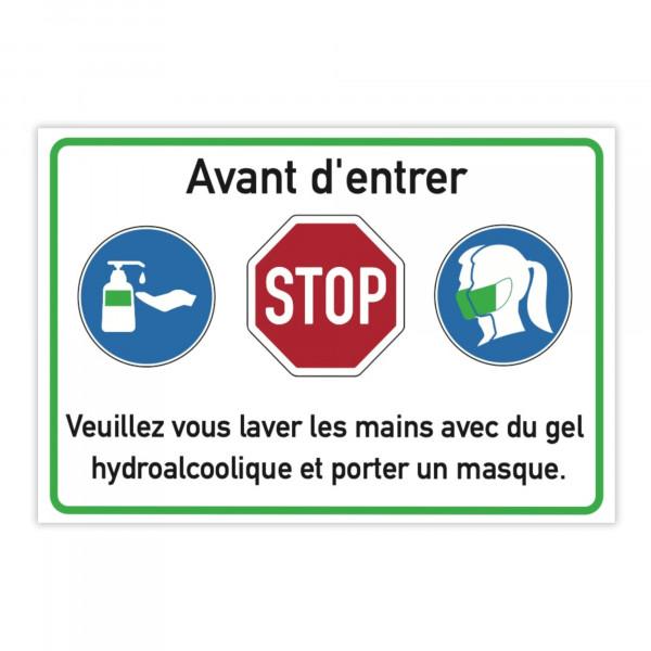 Autocollant d'avertissement (x10) - Avant d'entrer - Veuillez vous laver les ...