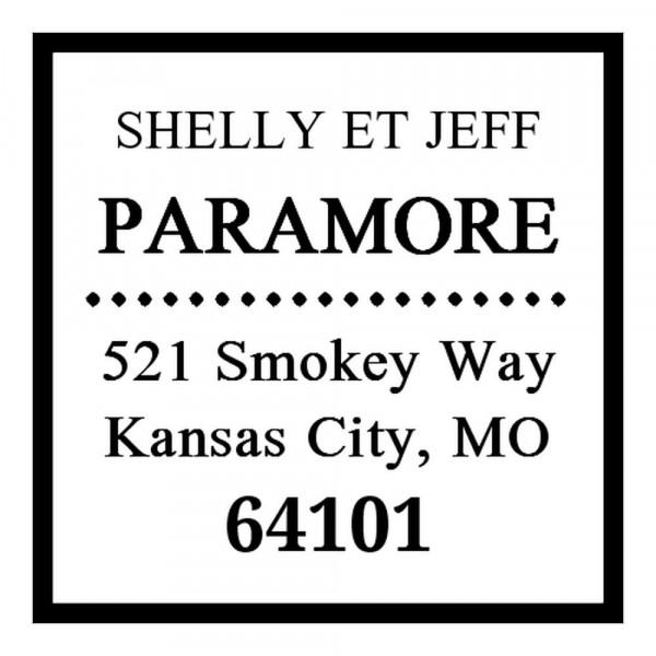 Tampon monogramme carré - Adresse classique avec encadrement