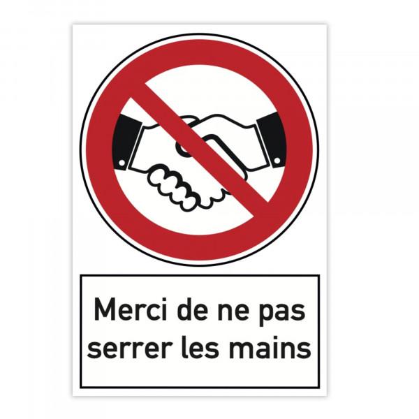Plaque d'interdiction en aluminium (x2) - Merci de ne pas serrer les mains (3...