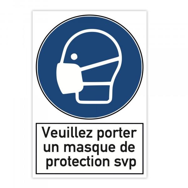 Plaque d'avertissement en aluminium (x2) - Veuillez porter un masque de prote...