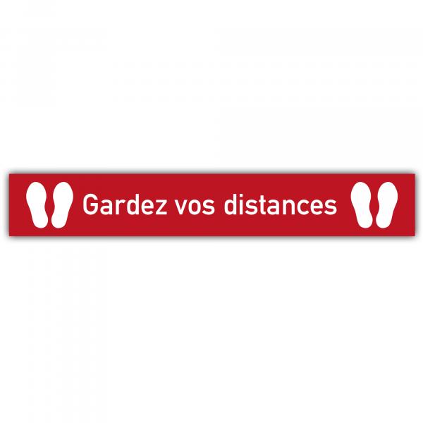 Marquage au sol Distance sociale (x3) - Rouge, Gardez vos distances (1000x150mm)